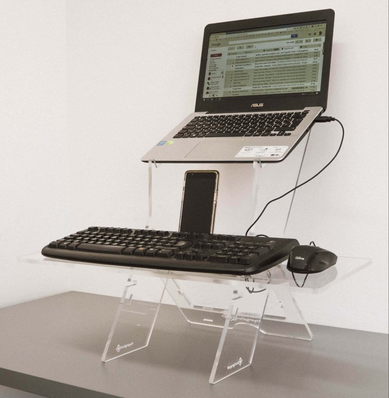 Easy Stand Plexy is the first 100% transparent standing desk in the world